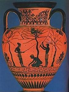 Finca la pontezuela Vasija-griega-donde-se-muestra-una-pintura-recreando-la-recogida-de-la-aceituna