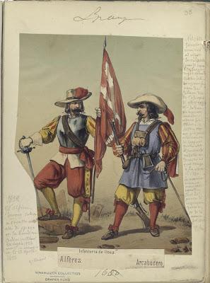 Tercios- Alferez, Arcabucero. Infanteria de linea (1680).